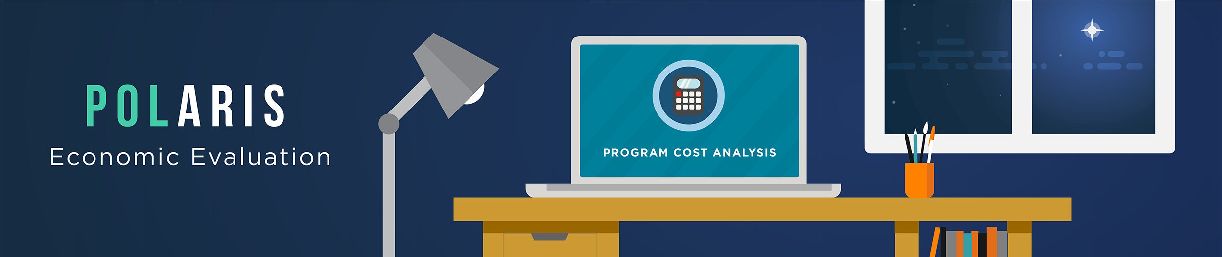 Banner at the the top of the page that says 'POLARIS Program Cost Analysis' and has an illustration of a laptop on a desk with a screen that includes an icon of a calculator