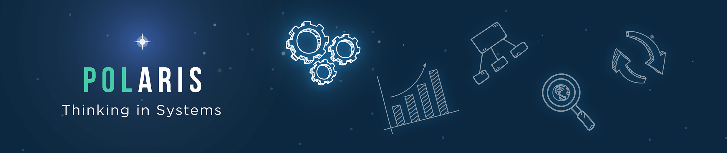 Banner at the the top of the page that says 'POLARIS Thinking in Systems' and has an illustration of a star-filled sky with constellation-like gears, a bar chart, a process map, magnifying glass, and arrows.