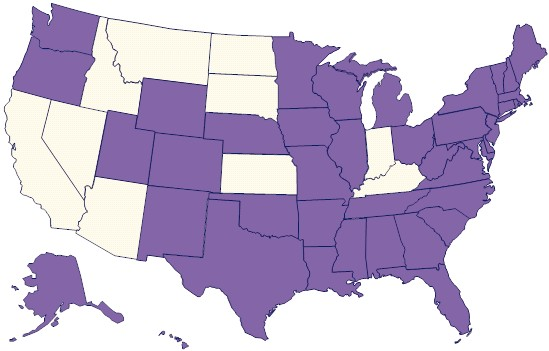 United States map the purple colored states indicate the participating PRAMS states.