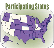 map showing PRAMS Participating States which EXCLUDE these states: ID, MT, ND, SD, IN, KY, AZ, NV and CA