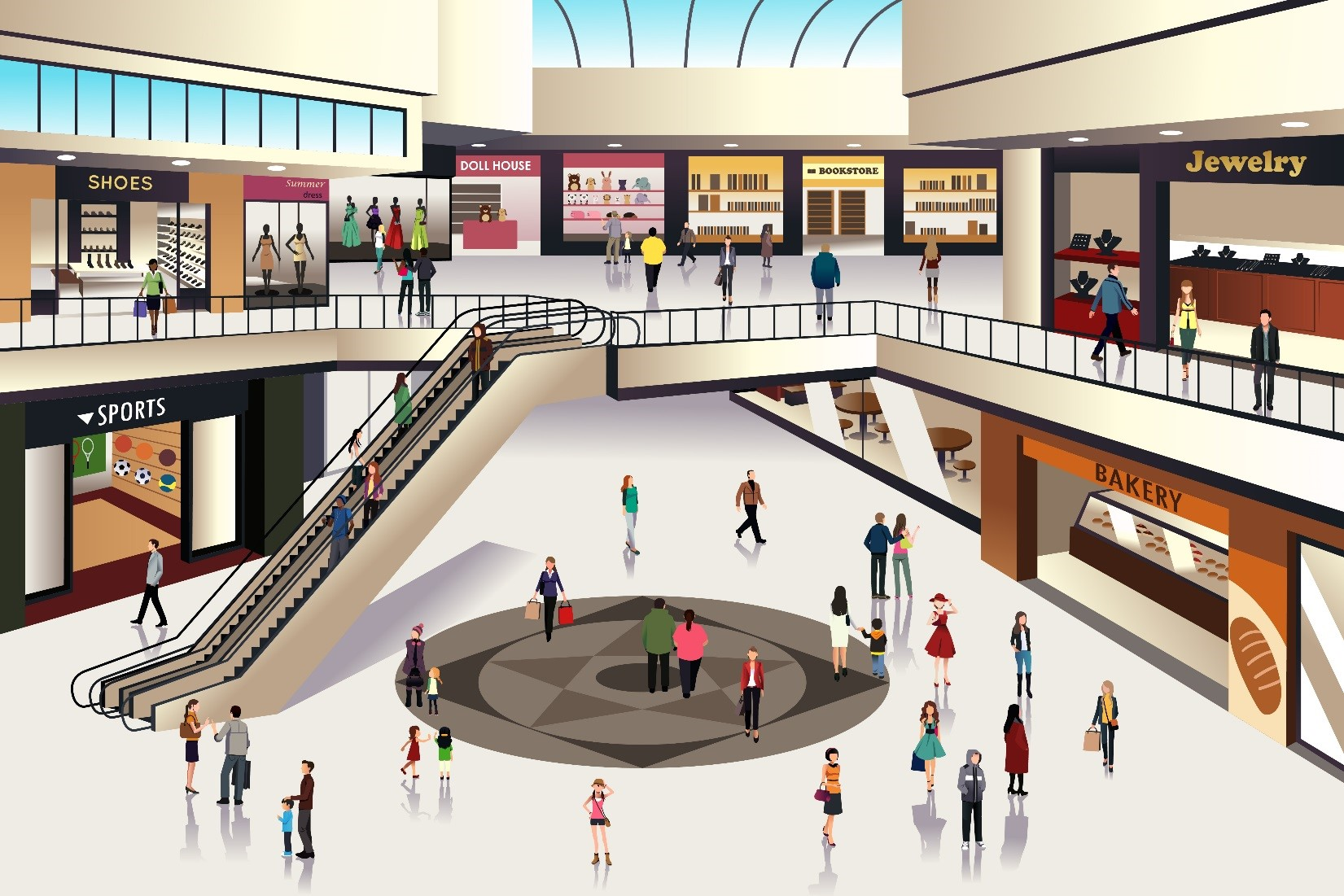 Illustration of a mall