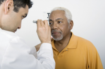 A man receiving an eye exam