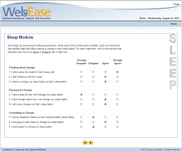 WebEase queries users to assess their readiness to make changes in how they manage their epilepsy