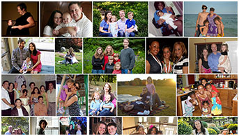 Photo collage of families who shared their stories