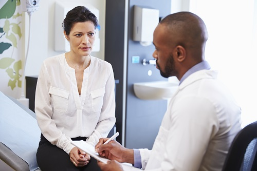 Woman discussing her health with her doctor