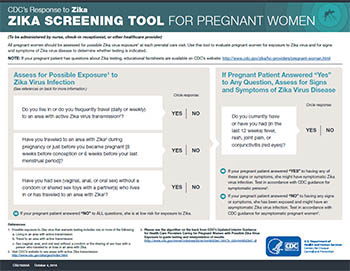 Zika Screening Tool for pregnant women fact sheet thumbnail