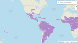 World map showing all countries and territories with risk of Zika
