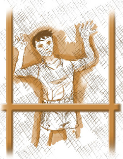 Illustration of a young boy holding onto the mesh of a porch door, looking out