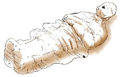 Illustration of a body covered in a burial shroud