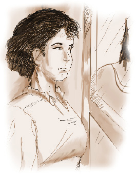 Illustration of a young woman looking out an open window