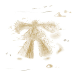 Illustration of a snow angel, created from laying in snow and moving arms and legs