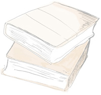 Illustration of two books, stacked