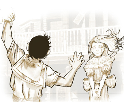 Illustration of boy waving goodbye as a girl cries in the background