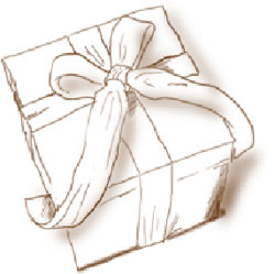 Illustration of a wrapped gift box with ribbon