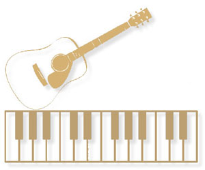 Illustration of a piano keyboard and a guitar