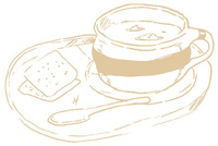 Illustration of tray with bowl of soup and crackers
