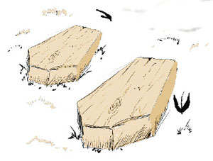 Illustration of coffins