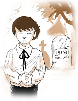 Illustration of a boy standing next to a gravestone with text 1918