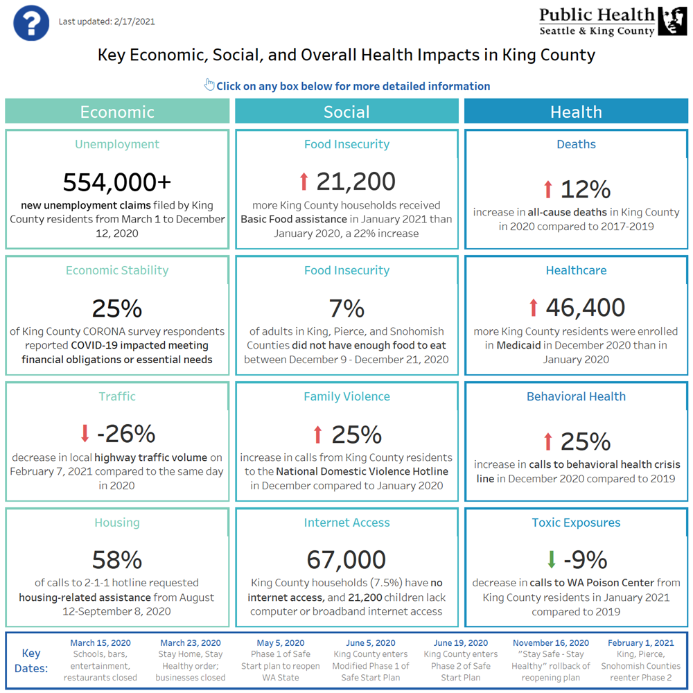 Social, Economic, and Health Statistics of Covid-19 Effects in King County