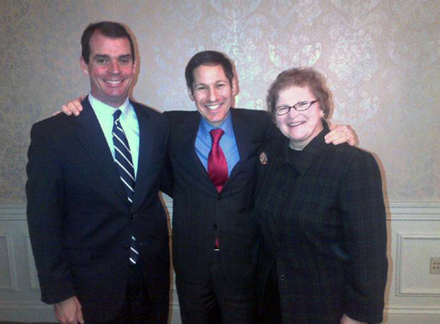 CDC Director Tom Frieden with the health officials from the two accredited state health departments, Terry Cline, OK, and Mary Selecky, WA.