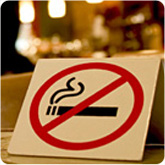 no smoking sign on a table