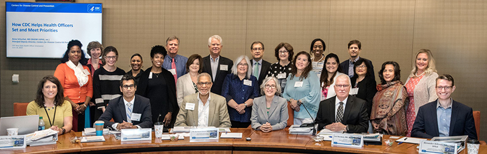 New state and local health officials pose with CDC's Principal Deputy Director Dr. Anne Schuchat (first row, 4th from left) and CSTLTS Director Dr. José Montero (back row, 4th from right) at the New Health Official Orientation held in June 2019.