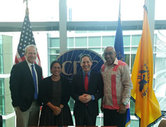 PIHOA Executive Director Emi Chutaro (2nd from left} and members of the OSTLTS Partnership Support Unit visit with CDC Director Dr. Tom Frieden (2nd from right) at CDC Headquarters.