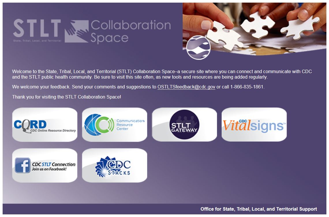 Screenshot of the CRC landing page