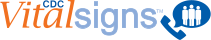 Vital Signs logo near handset and word bubble with 3 people in it