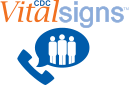 Vital Signs Logo near telephone handset next to word bubble with 3 people in it