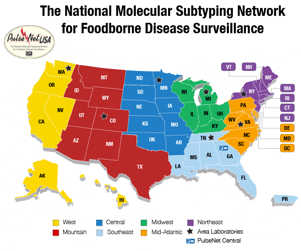 Participants PulseNet CDC - Us map divided into regions