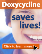 Doxycycline saves lives with woman smiles and click to learn more