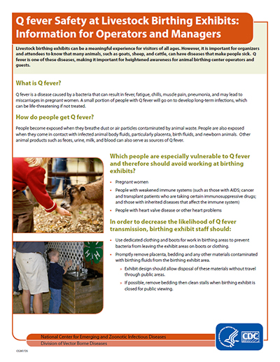 Q Fever safety at livestock birthing exhibits: Information for operators and managers fact sheet thumbnail.