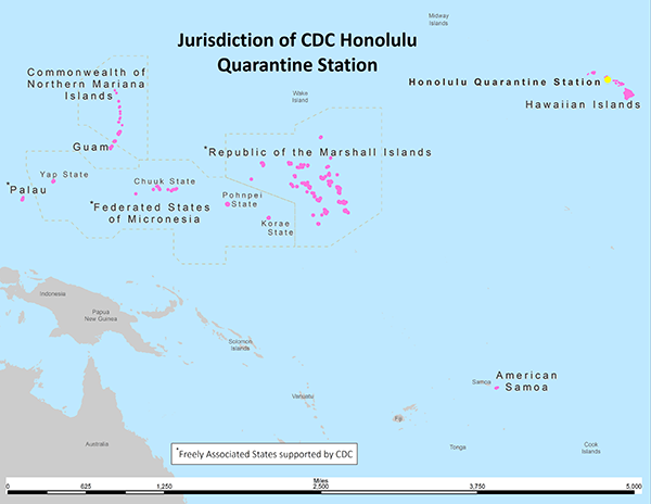 Map of jurisdiction of CDC's Honolulu Quarantine Station, which includes the Hawaiian Islands, American Samoa, Guam, Commonwealth of Northern Mariana Islands, and the Freely Associated States supported by CDC: Palau, Federated States of Micronesia, and the Republic of the Marshall Islands. An expanse of about 5,000 miles.