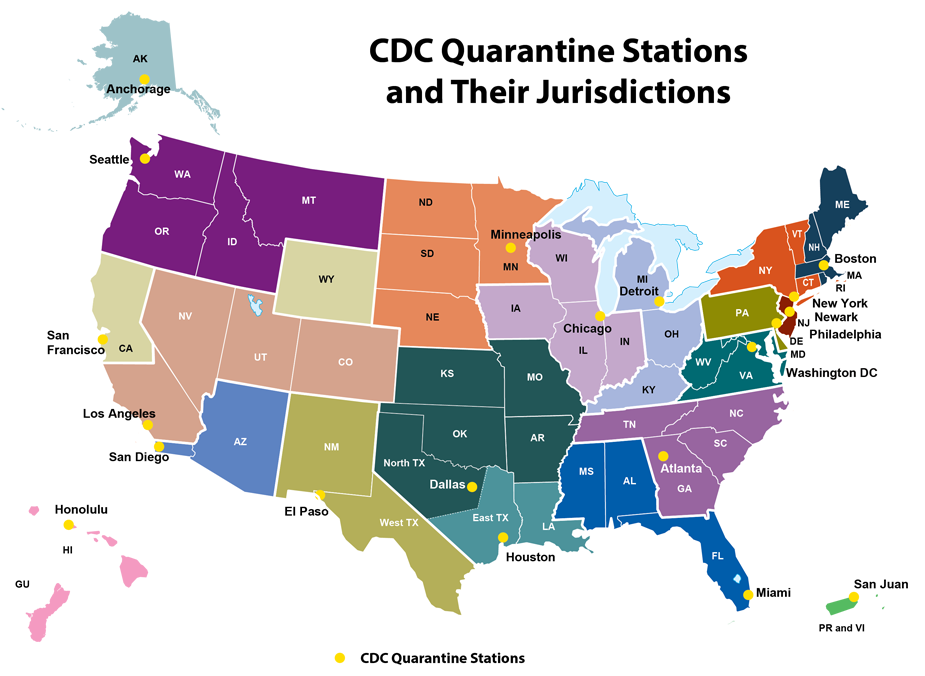 Map of the United States, organized by state/region to show locations of 20 Quarantine Stations and their jurisdictions. These stations and their respective jurisdictions are as follows: Anchorage: Alaska. Honolulu: Hawaii and Guam. Seattle: Washington, Oregon, Idaho, and Montana. San Francisco: Northern California and Wyoming. Los Angeles: Southern California (with the exception of San Diego), Nevada, Utah, and Colorado. San Diego: Southern California/Mexico border region and Arizona. El Paso: New Mexico and West Texas. Houston: East Texas and Louisiana. Dallas: North Texas, Oklahoma, Kansas, Missouri, and Arkansas. Minneapolis: Minnesota, North and South Dakota, Nebraska. Chicago: Iowa, Wisconsin, Illinois, Indiana. Detroit: Michigan, Ohio, and Kentucky. Atlanta: Georgia, Tennessee, North and South Carolina. Miami: Florida, Alabama, and Mississippi. San Juan: Puerto Rico and Virgin Islands. Washington, DC: Virginia, West Virginia, and Maryland. Philadelphia: Delaware and Pennsylvania. Newark: New Jersey. New York: New York, Connecticut, and Vermont. Boston: New Hampshire, Rhode Island, Massachusetts, and Maine.