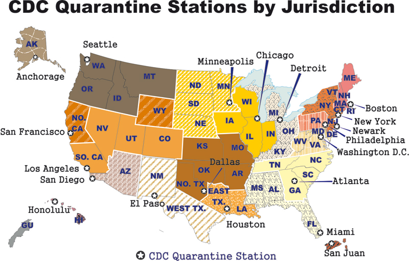 US map Quarantine stations