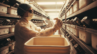 image of a worker in a rodent lab