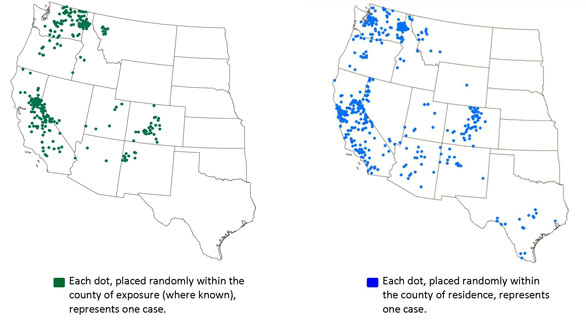 Tick-borne relapsing fever occurs in the western U.S. and is usually linked to sleeping in rustic, rodent-infested cabins in mountainous areas. On the map to the left, each dot represents one case in the county of exposure (where known). On the map to the right, each dot represents one case in the county where it was diagnosed. Thus, areas where people infected (Lake Tahoe, for example) are not necessarily the areas where they are diagnosed (San Francisco Bay area, most likely).