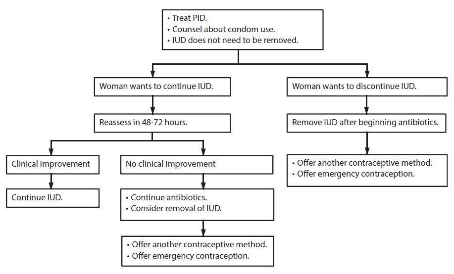 Appendix F shows a flow chart describing the management of an intrauterine device when a woman using a copper-containing IUD or a levonorgestrel-releasing IUD is found to have pelvic inflammatory disease.