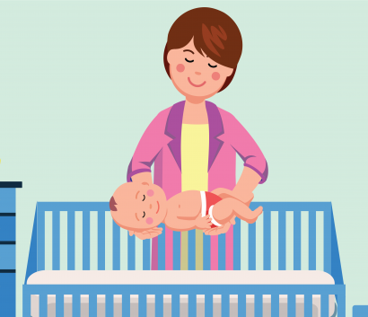 vector image of a woman laying her child in a crib