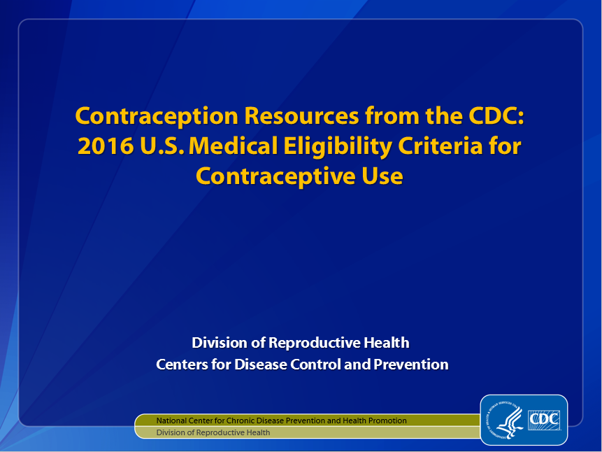 CDC Contraceptive Method Guidance: Slide Sets for Health