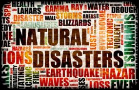image of a poster that resembles a tag cloud (all of the related words to Natural Disasters such as earthquake, blizzards, etc.)