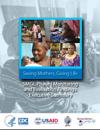 The Executive Summary provides an overview of the SMGL Phase 1 (2012-2013) results: maternal mortality declined in the 8 SMGL-supported districts in Uganda and Zambia through intense efforts to strengthen health services and link communities with health centers for augmenting safe delivery care. In addition, access to obstetric care increased, health facility infrastructure improved, and emergency obstetric and newborn care coverage increased.