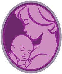 a vector art drawing of a cameo with a mother and infant child