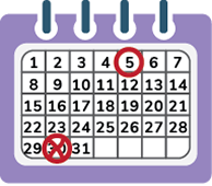 image of a calendar showing the fifth circled and the 30th x'd out