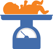a vector image of a baby laying on a set of scales