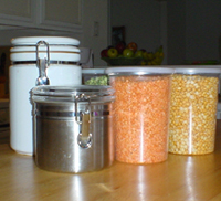 various food containers with properly sealed lids