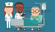 illustration of nurse and doctor talking with older patient in a hospital bed.