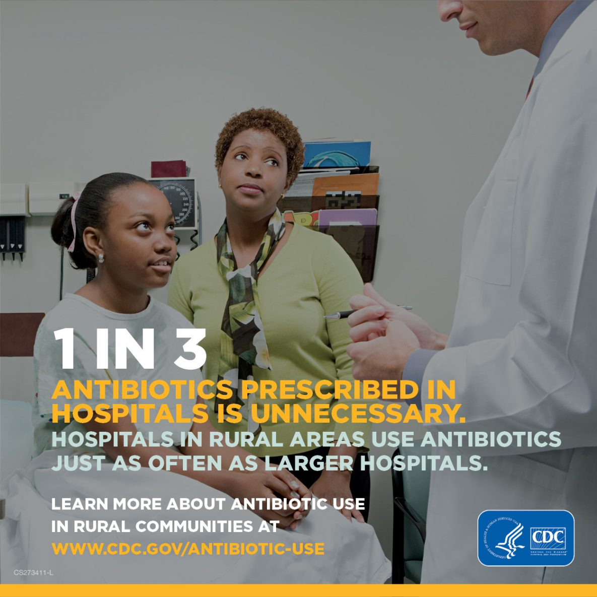 1 in 3 Antibiotics precribed in hospitals is unnecessary. Hospitals in rural areas use antibiotics just as often as larger hospitals.