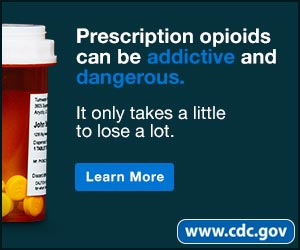 Prescription opioids can be addictive and dangerous. It only takes a little to lose a lot. Learn more. www.cdc.gov
